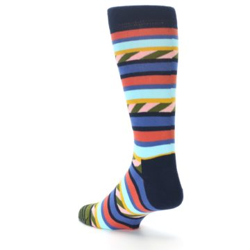 Image of Blue Orange Multicolor Stripes Men's Dress Socks (side-2-back-15)