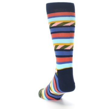 Image of Blue Orange Multicolor Stripes Men's Dress Socks (side-2-back-16)