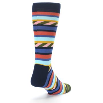 Image of Blue Orange Multicolor Stripes Men's Dress Socks (side-1-back-21)