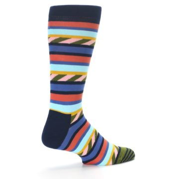 Image of Blue Orange Multicolor Stripes Men's Dress Socks (side-1-23)