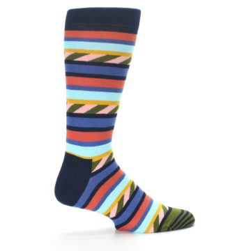 Image of Blue Orange Multicolor Stripes Men's Dress Socks (side-1-24)