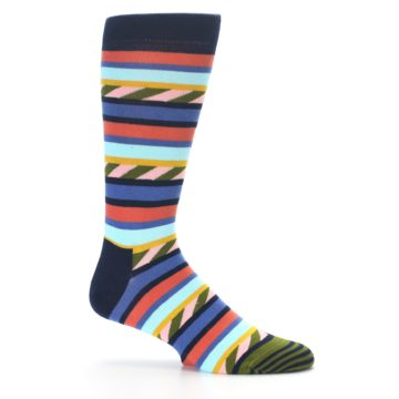 Image of Blue Orange Multicolor Stripes Men's Dress Socks (side-1-25)