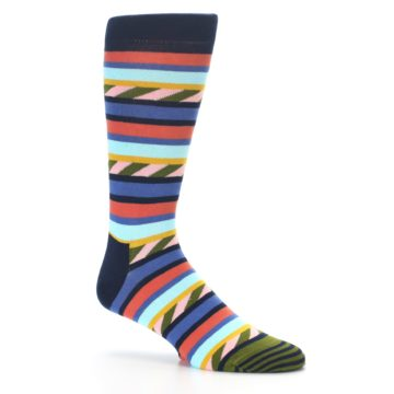 Image of Blue Orange Multicolor Stripes Men's Dress Socks (side-1-26)