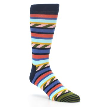 Image of Blue Orange Multicolor Stripes Men's Dress Socks (side-1-27)