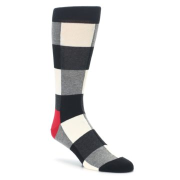 Black white grey plaid men's dress socks happy socks