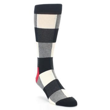 Image of Black White Heather Plaid Men's Dress Socks (side-1-front-02)