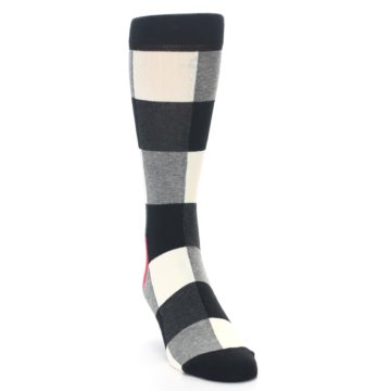 Image of Black White Heather Plaid Men's Dress Socks (side-1-front-03)