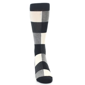 Image of Black White Heather Plaid Men's Dress Socks (front-04)