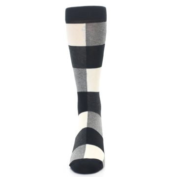 Image of Black White Heather Plaid Men's Dress Socks (front-05)