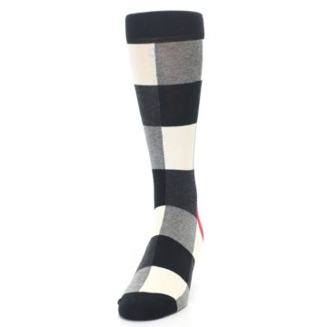 Image of Black White Heather Plaid Men's Dress Socks (side-2-front-06)