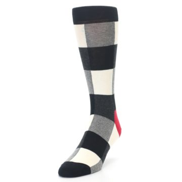 Image of Black White Heather Plaid Men's Dress Socks (side-2-front-07)