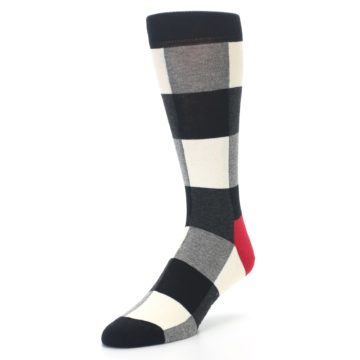 Image of Black White Heather Plaid Men's Dress Socks (side-2-front-08)