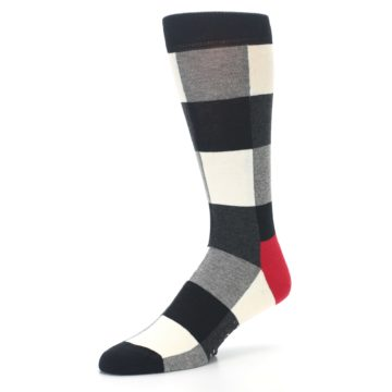 Image of Black White Heather Plaid Men's Dress Socks (side-2-09)
