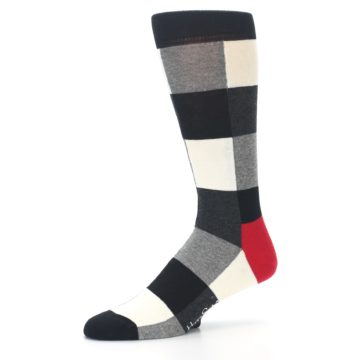 Image of Black White Heather Plaid Men's Dress Socks (side-2-10)