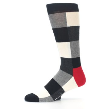 Image of Black White Heather Plaid Men's Dress Socks (side-2-11)