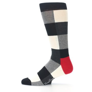 Image of Black White Heather Plaid Men's Dress Socks (side-2-12)