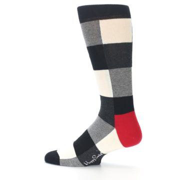 Image of Black White Heather Plaid Men's Dress Socks (side-2-13)