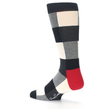 Image of Black White Heather Plaid Men's Dress Socks (side-2-back-14)