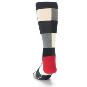 Image of Black White Heather Plaid Men's Dress Socks (back-17)
