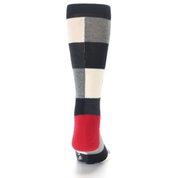 Image of Black White Heather Plaid Men's Dress Socks (back-19)