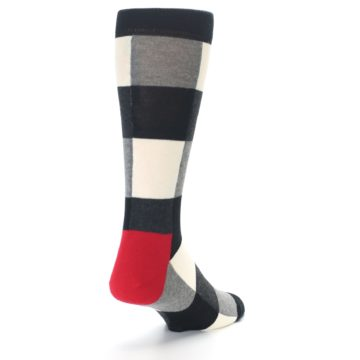Image of Black White Heather Plaid Men's Dress Socks (side-1-back-21)