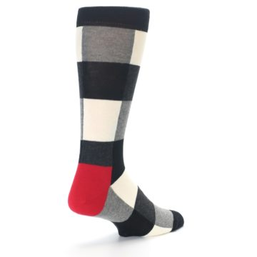 Image of Black White Heather Plaid Men's Dress Socks (side-1-back-22)