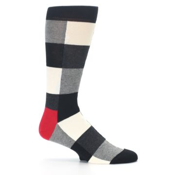 Image of Black White Heather Plaid Men's Dress Socks (side-1-25)