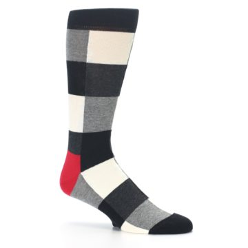 Image of Black White Heather Plaid Men's Dress Socks (side-1-26)
