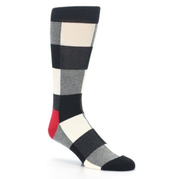 Image of Black White Heather Plaid Men's Dress Socks (side-1-27)