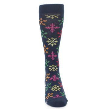 Image of Navy Multi Christmas Snow Flakes Men's Dress Socks (front-04)