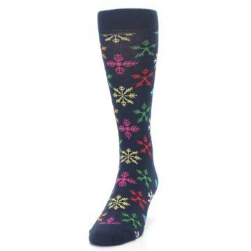Image of Navy Multi Christmas Snow Flakes Men's Dress Socks (side-2-front-06)