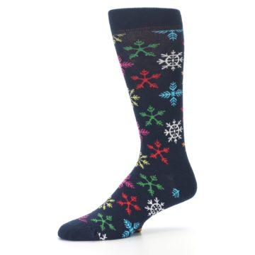 Image of Navy Multi Christmas Snow Flakes Men's Dress Socks (side-2-10)