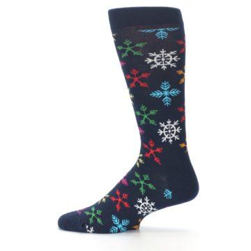 Image of Navy Multi Christmas Snow Flakes Men's Dress Socks (side-2-12)