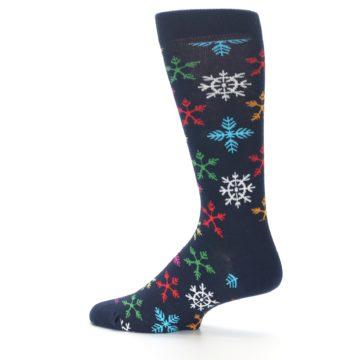 Image of Navy Multi Christmas Snow Flakes Men's Dress Socks (side-2-13)
