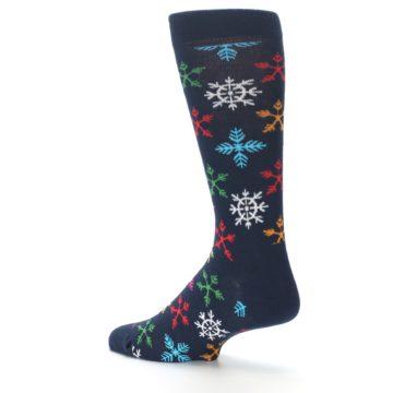 Image of Navy Multi Christmas Snow Flakes Men's Dress Socks (side-2-back-14)