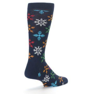 Image of Navy Multi Christmas Snow Flakes Men's Dress Socks (side-1-back-22)