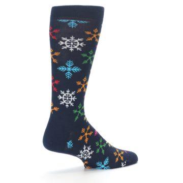 Image of Navy Multi Christmas Snow Flakes Men's Dress Socks (side-1-23)