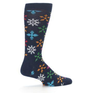 Image of Navy Multi Christmas Snow Flakes Men's Dress Socks (side-1-24)