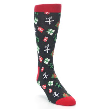 Image of Grey Red Green Christmas Gifts Men's Dress Socks (side-1-front-02)