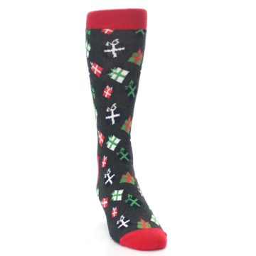Image of Grey Red Green Christmas Gifts Men's Dress Socks (side-1-front-03)