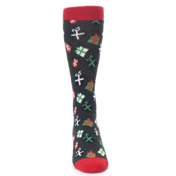 Image of Grey Red Green Christmas Gifts Men's Dress Socks (front-04)
