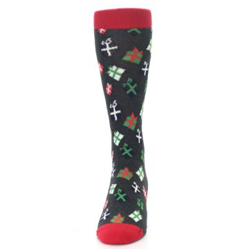 Image of Grey Red Green Christmas Gifts Men's Dress Socks (front-05)