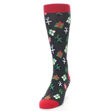 Image of Grey Red Green Christmas Gifts Men's Dress Socks (side-2-front-06)