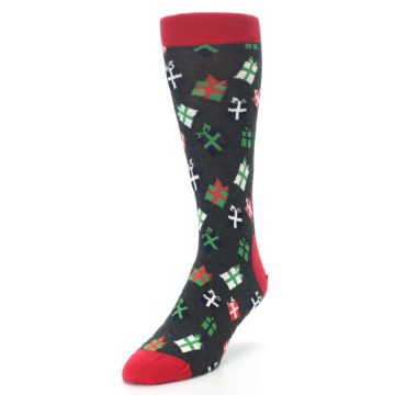 Image of Grey Red Green Christmas Gifts Men's Dress Socks (side-2-front-07)