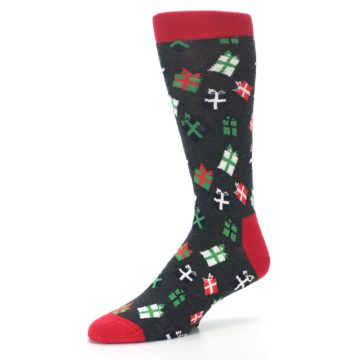 Image of Grey Red Green Christmas Gifts Men's Dress Socks (side-2-09)