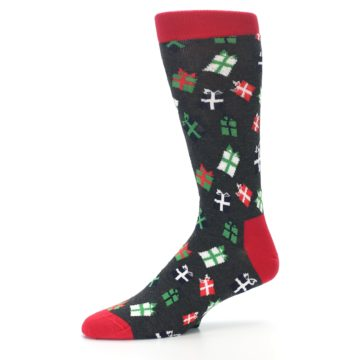 Image of Grey Red Green Christmas Gifts Men's Dress Socks (side-2-10)