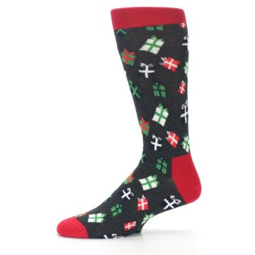 Image of Grey Red Green Christmas Gifts Men's Dress Socks (side-2-11)