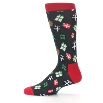 Image of Grey Red Green Christmas Gifts Men's Dress Socks (side-2-12)