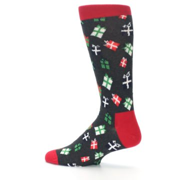 Image of Grey Red Green Christmas Gifts Men's Dress Socks (side-2-13)
