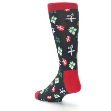 Image of Grey Red Green Christmas Gifts Men's Dress Socks (side-2-back-15)